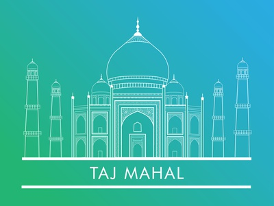 Taj Mahal illustration city landmark building architecture gradient agra monument tajmahal india line art minimal art flat vector illustration