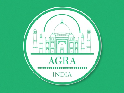 Agra Sticker indian culture green agra india line art minimal art flat vector city architecture monument illustration sticker badge