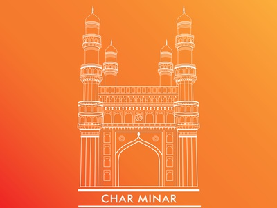 Charminar Illustration city tourism illustrator line art hyderabad hyderabadtourism india monument architecture design minimal art flat vector illustration