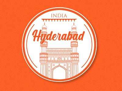Hyderabad Sticker orange typography history architecture building monument india hyderabad badgedesign badge sticker lineart design minimal art flat vector illustration