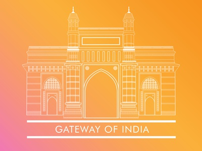 Gateway Of India Illustration design indian culture city building gradient culture india mumbai gateway of india monument architecture line art minimal art flat vector illustration