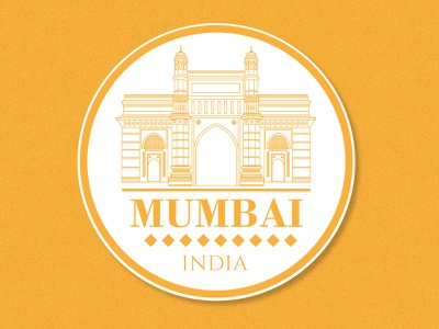 Mumbai Sticker texture minimal line art yellow mumbai india tourism city illustration monument city sticker badge dribbble minimal art typography flat vector illustration
