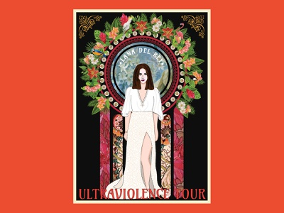 Ultraviolence Poster lana del rey art noveau flat design illustration vector