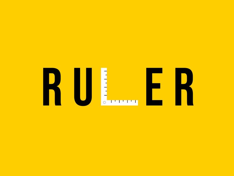 ruler stationery ruler illustration minimal art logotype logomark typography flat vector