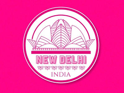 Weekly Warm up #01- Hometown Sticker line art logo temple india lotus pink badge weekly warm-up dribbble lotus temple sticker new delhi minimal art flat vector illustration