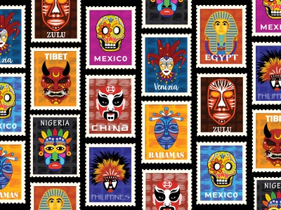 Masked #03 procreate layout culture typogaphy nigeria bahamas venice china tibet mexico stamps countries mask illustration flat vector