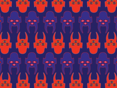 Masked #06 dribbble repetition repeating pattern procreate mascot blue demon patttern pattern design mask minimal art design flat illustration vector