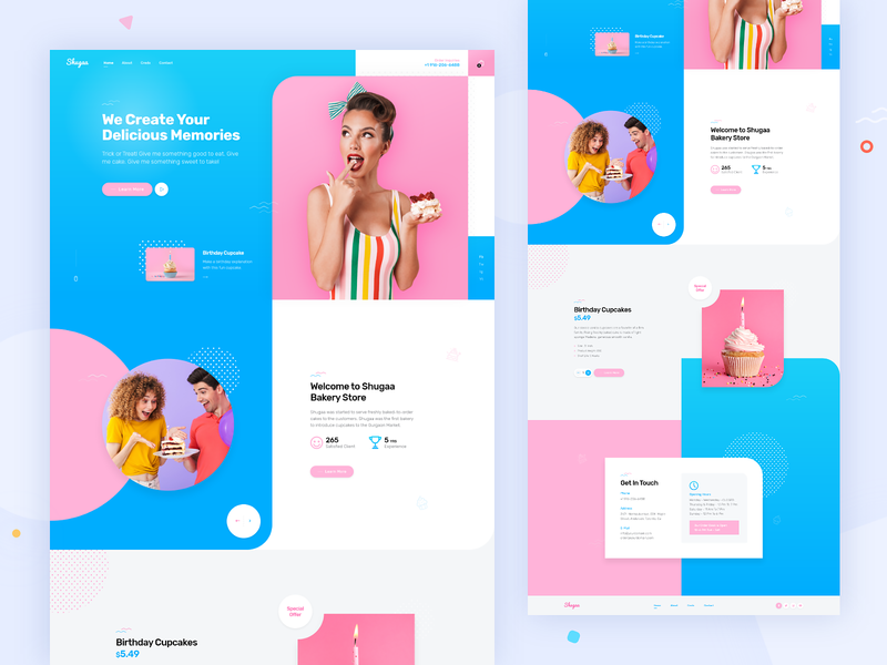 Bakery Ecommerce Website Design for Shugaa website design shopping store pink blue landing page confectionery bakery landingpage website themeforest web design theme for wordpress theme design wordpress rezfelix webdesign ui web design