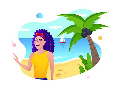 Beach and Ocean trip tour web desgin web vector travel agency summer sketch sea rezfelix illustration graphic girl drawing design character charachterdesign cartoon beach agency
