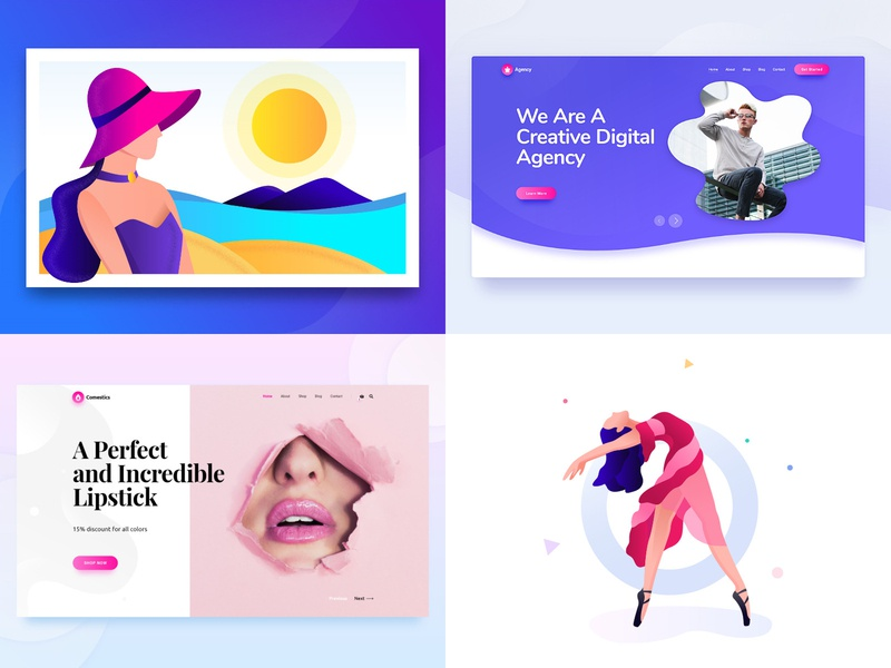 2018 ux web desgin girl summer travel agency ui slide graphic character web beach wordpress website slider webdesign illustration drawing agency rezfelix design