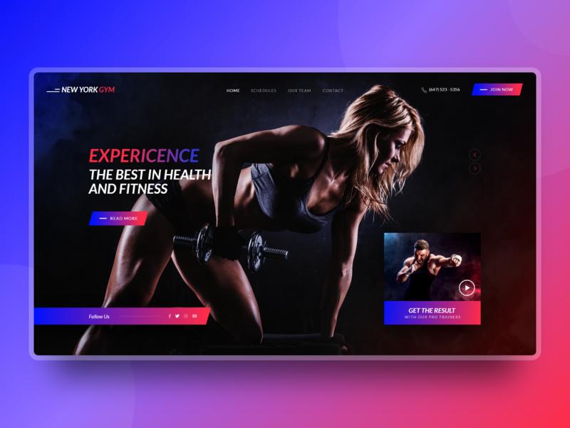 New York City Fitness Gym, Health Website Design Mockup