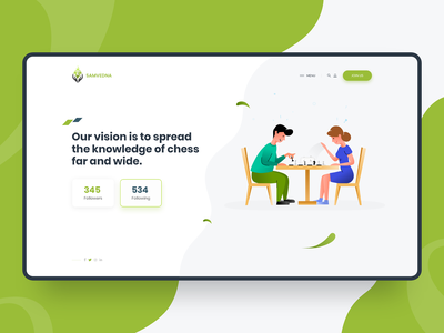 Samvedna NGO Chess Sports Web Design Mockup ngo website design illustraion sports sport hero slide themeforest theme theme for wordpress website ux ui rezfelix wordpress webdesign design web design web chess