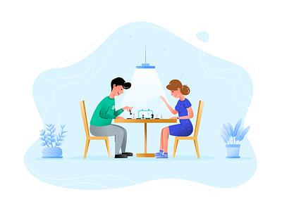 Chess Match blue flat illustration digitalart branding characters characterdesign rezfelix illustrator character design rez felix character plant chess design boy girl graphic illustration art