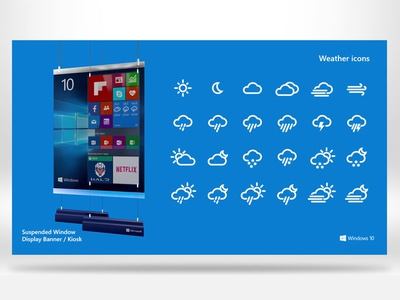Windows 10 Cortana    Digital Display Kiosk (Weather Icons)