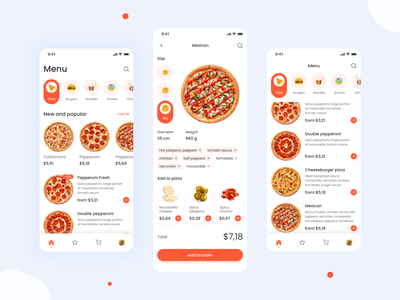 Food App concept uxdesign mobile ui ux app clean interface food delivery pizza orange ios icon