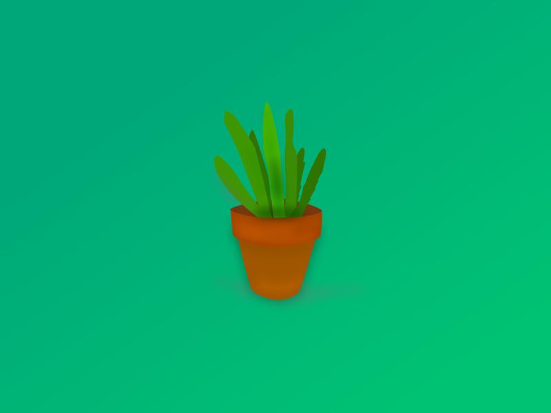 small cactus pot illustration design