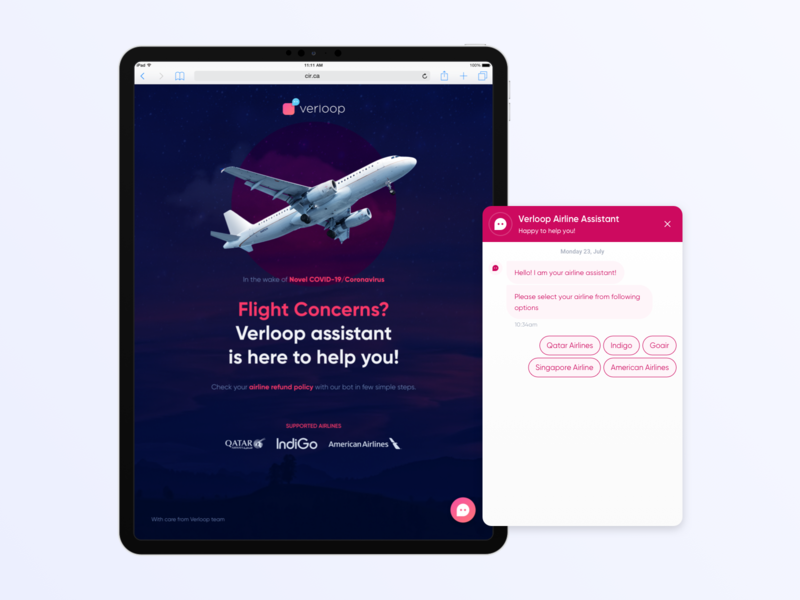 Airline Query Chatbot Tablet - Covid-19 interface flight airline website responsive design tablet ipad chatbot bot chat interaction design ui ux ui ux