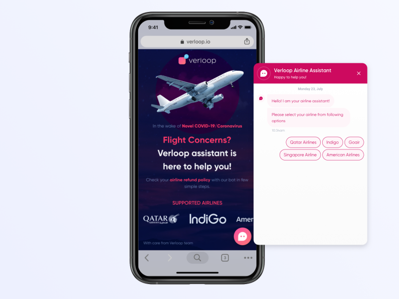 Airline Query Chatbot Mobile - Covid-19 responsive design mobile bot chatbot flight airline interface interaction iphone ios design ux ui
