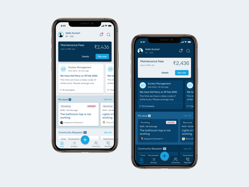 App for Society - Light/Dark Theme app design dark theme light theme iphone mobile interaction clean ios app design ux ui