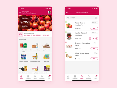 Grocery App - Light Theme product page interaction design app product design ui ux grocery app ecommerce app cart ios
