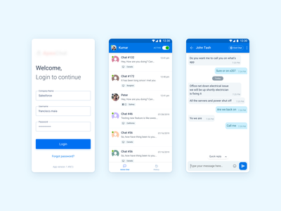 Chat app business - Light/Dark Theme dark theme uidesign list login gaurav kumar light theme chatbot chat interaction mobile android clean app ux ui design