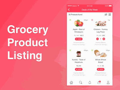 Grocery App Product Listing cart ecommerce design ios ux ui product listing app grocery