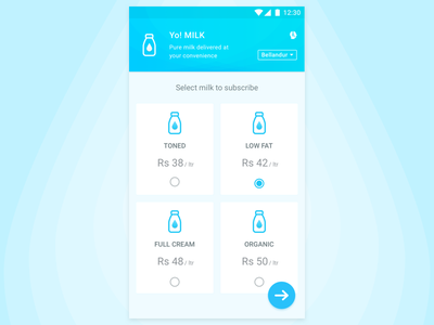 Milk Product App e-commerce material design android app product milk