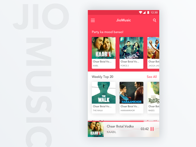 JioMusic App Design india bollywood android app ux ui design player music jio