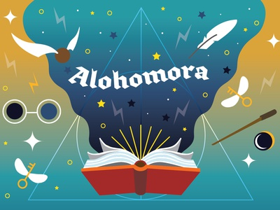 Alohomora! harry potter friendly to thieves magic illustration postcard book wizard spells magical witch golden snitch magic wand magician imagination
