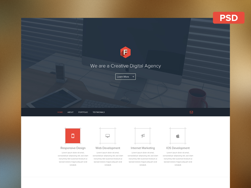 Flatstyle Web Layout Free PSD by Dimple Bhavsar - Dribbble