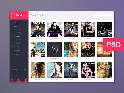 Muzik UI muzik music user interface ui design design photoshop psd freebie dashboard aigleinfoways