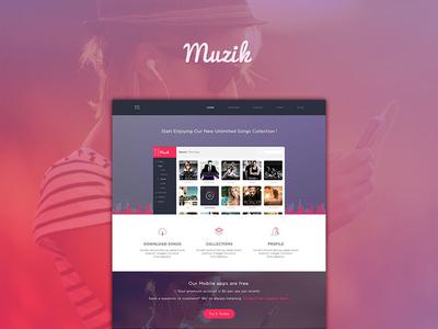 Muzik Landing page user interface layout ui design web app design agileinfoways music landing page