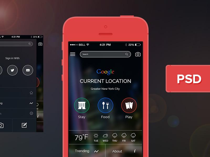 Google App UI uiux google ui free psd app ui hotels weather location restuarant photoshop agileinfoways free psd