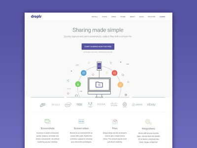 Redesign Droplr Homepage sharing. illustration clean simple interface landing page upload files droplr layout design ux ui
