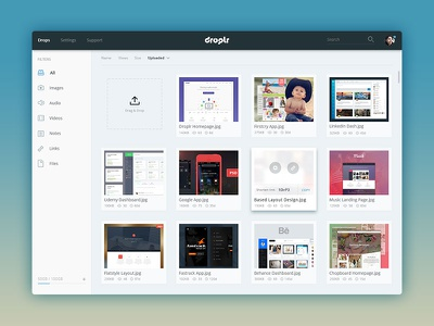 Droplr Dashboard sharing. clean simple interface upload files droplr dashboard design ux ui