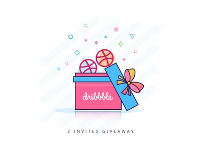 Dribbble Invites illustration gift box icon draft invitation 2 invites dribbble invite