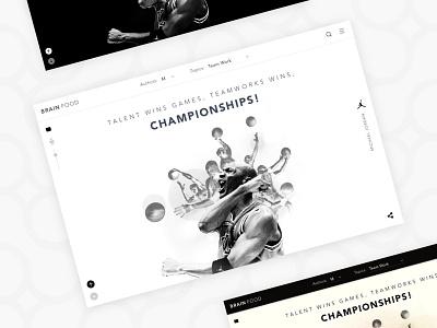 Brain Food Website sport color white black photo edits website quote ui design design ui ux