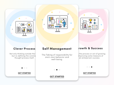 Onboarding Screens mobile screens ui design success management process illustrations icons app onboarding