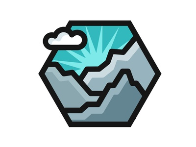 Rugged Mountains Badge blue and grey thick lines badge design mountains