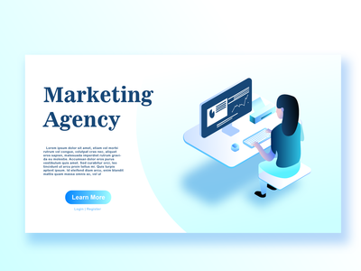 Isometric Design Marketing Agency Applied In Website