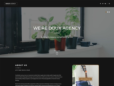 Doux One Page HTML Template - Dark Demo web design one page html template one-page creative