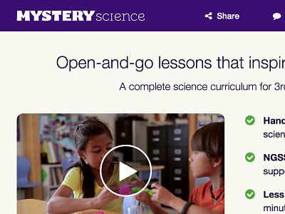 Mystery Science Homepage Sneak Peek edtech homepage science