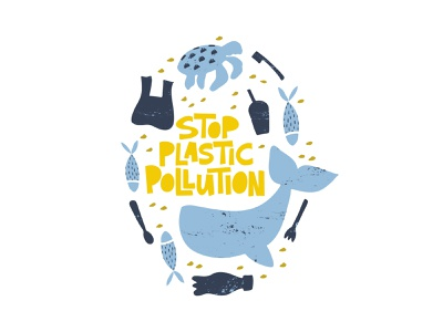 Stop Plastic ocean turtle whale sea hand lettering hand drawn concept typography ecology plastic lettering vector illustration