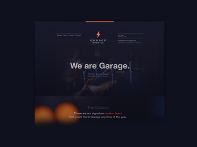 Garage : Barcelona page landing marketing branding dark barcelona beer brewery responsive website