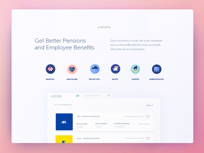Homepage : Human Benefits human resources user experience concept development saas interaction design art direction user interface ux