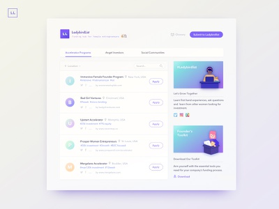Ladybirdlist : Funding Hub for Female Entrepreneurs webapp ladybirdlist desktop user experience product design branding art direction interface design
