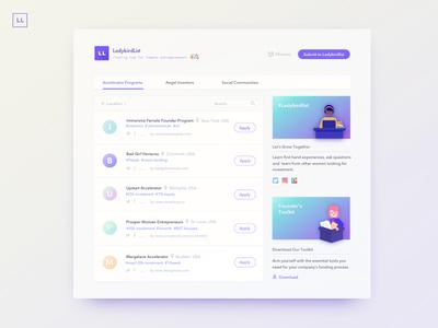 Ladybirdlist : Funding Hub for Female Entrepreneurs webapp ladybirdlist desktop user experience product design branding art direction interface design