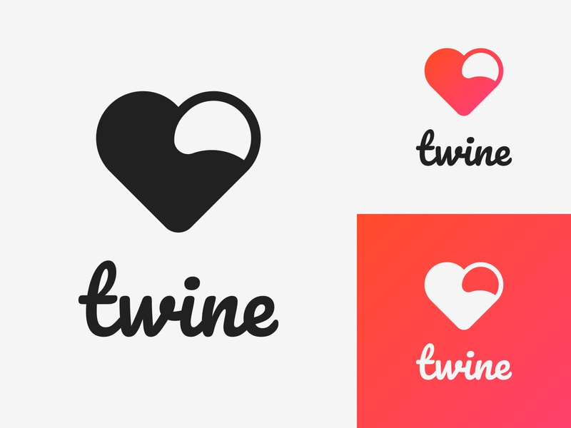41/50 Daily Logo Challenge - Dating App heart logotype illustration branding branding design minimalist dailylogo dailylogochallenge logo design graphic app design apple dating connect happen twine