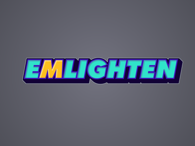 EMLIGHEN Logo minimal lettering letters letter text cyan aqua green yellow logo branding vector typography illustration design