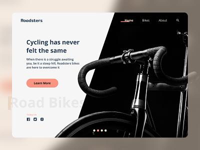 Roadsters   Website Design first debut first shot road bikes branding website bicycles design web ux ui